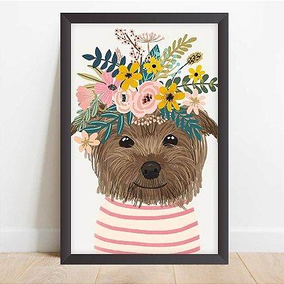 Quadro Coleção Pets Cachorro Decorativo Yorkshire Tiara de Flores