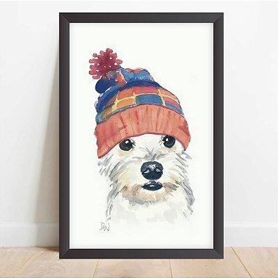 Quadro Coleção Pets Cachorro Touca Colorida Decorativo