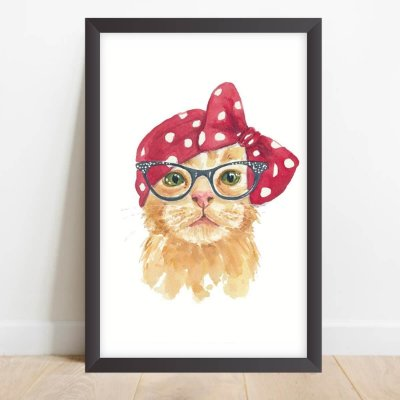 Quadro Coleção Pets Decorativo Gata Hipster