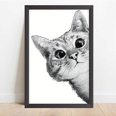Quadro Coleção Pets Decorativo Gato Curioso