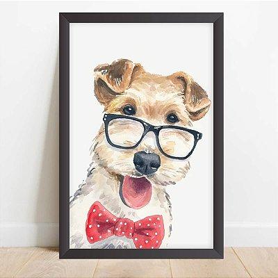 Quadro Coleção Pets Dog Schnauzer Hipster Decorativo