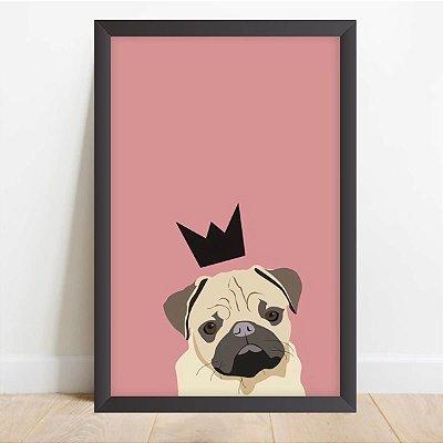 Quadro Coleção Pets Pug Coroa Decorativo