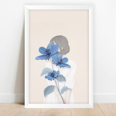 Quadro Garota Flores Azuis Decorativo Artístico