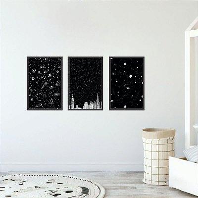Conjunto 3 Quadros Astronomia Espaço Coleção Universo