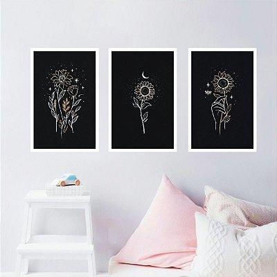 Conjunto 3 Quadros Flores Arte Girassol Night decorativo