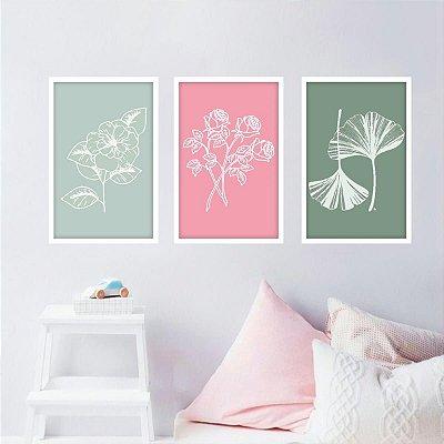 Kit 3 Quadros Flores Minimalismo Colorido Floral decorativo