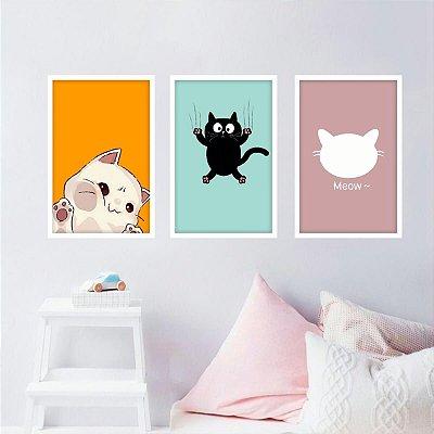 Kit 3 Quadros Gatos Coleção Pets Cute Cat decorativos
