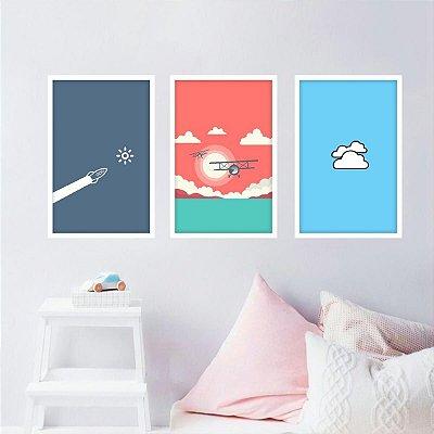 Kit 3 Quadros Infantil Avião Nuvens Ilustração decorativo