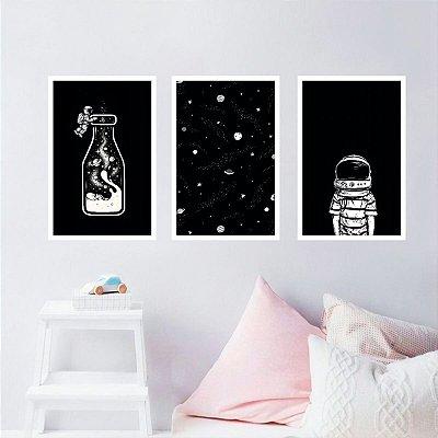 Quadro decorativo Estrelas Pote do Universo Astronauta Kit 3 Peças