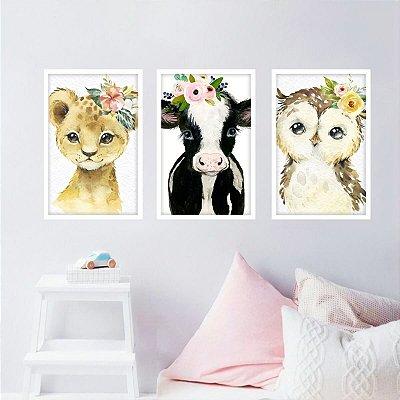 Quadros decorativo Coleção Pets Animais Floridos Conjunto 3 Peças