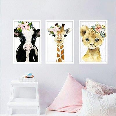 Quadros Infantil Coleção Pets Animais Floral Kit 3 Peças
