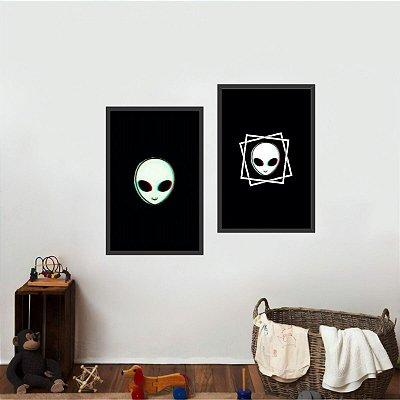 Kit 2 Quadros Alienígenas Arte ETs Decorativo