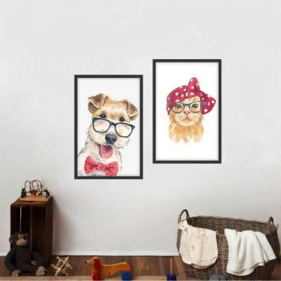 Kit 2 Quadros Arte Cachorro e Gato Infantil Dog Cat Style decorativo