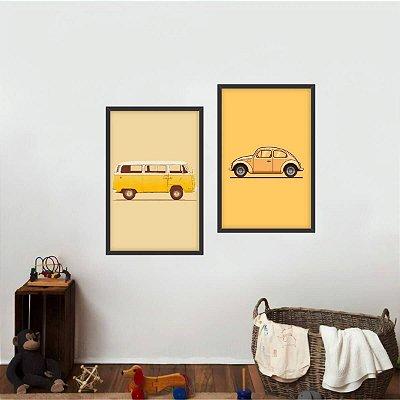 Kit 2 Quadros Carros Antigos Infantil Kombi e Fusca