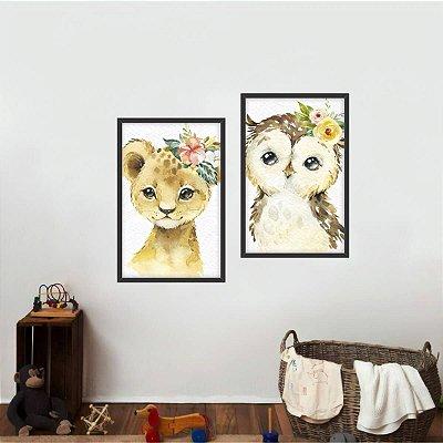 Kit 2 Quadros Coleção Animais com Flores decorativo