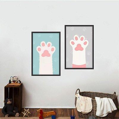 Kit 2 Quadros Coleção Pets Patinha de Cachorro e Gato