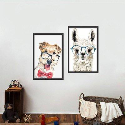 Kit 2 Quadros Lhama e Cachorro Arte Coleção Animais