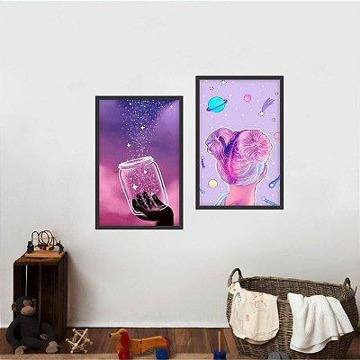 Kit 2 Quadros Universo Planetas Pote das Estrelas decorativo