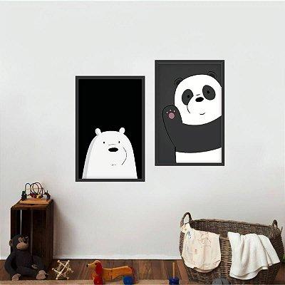Kit 2 Quadros Urso e Panda em Preto e Branco Infantil
