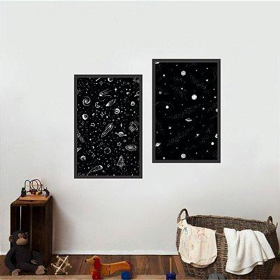Kit Coleção Universo 2 Quadros Planetas Espaço Estrelas