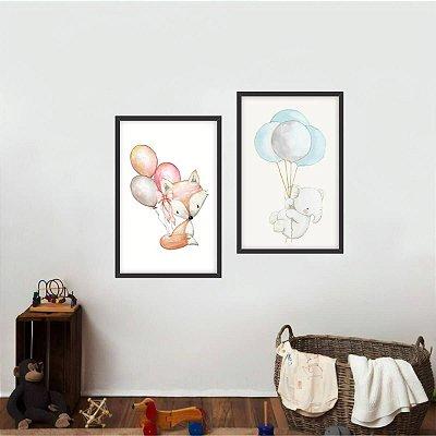 Quadro Arte Infantil Balões Coleção Animais Kit 2 Peças
