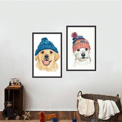 Quadro Cachorros Melhor Amigo do Homem Arte Kit 2 Peças
