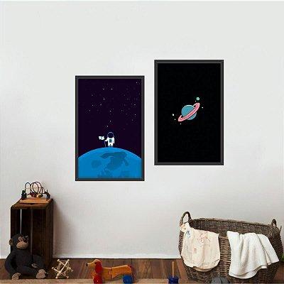 Quadro Coleção Universo Astrounauta e Planetas Kit 2 Peças
