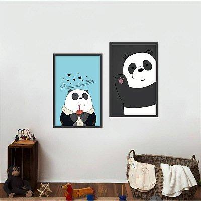 Quadro decorativo Infantil Panda Coleção Animais Kit 2 Peças