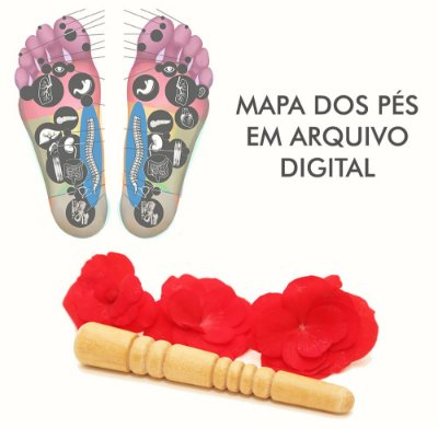 Kit Reflexologia 1 Thai Stick + Mapa do Pé Digital