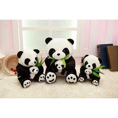 Panda com Pandinha e Folha 25cm