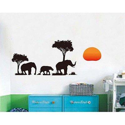 Adesivo De Parede Elefantes Da Selva