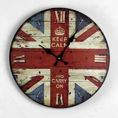 Relógio de parede Vintage Inglaterra Keep Calm