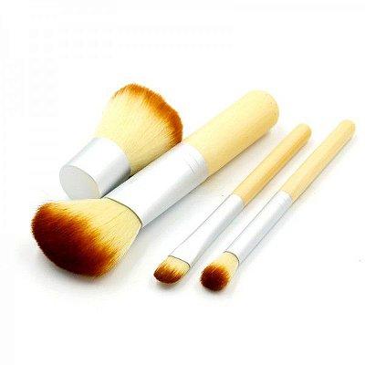 Kit Maquiagem 4 Pincéis Profissionais Bambú com Estojo