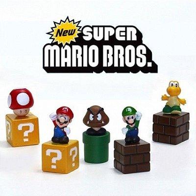 Kit com 5 Bonecos do Super Mario Bros