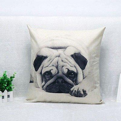 Almofada Criativa 45x45cm Cachorro Pug
