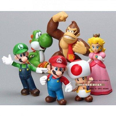 Bonecos Turma Super Mario Bros 6 Peças 8cm