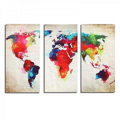 Quadro 3 Peças Mapa Mundi Sem Moldura