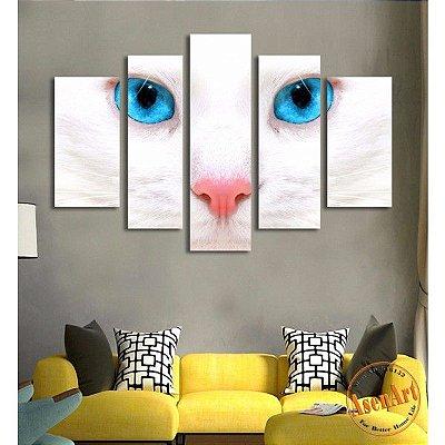 Quadro em Lona Lindo Gato de Olho Azul 5pçs