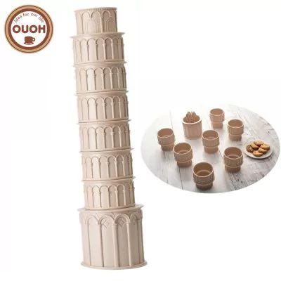 Conjunto de copo em forma de torre de Pisa