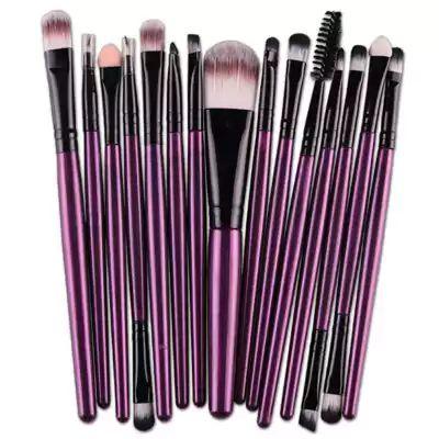 Conjunto 15 pincéis de maquiagem nylon roxo