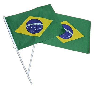 BANDEIRA DO BRASIL C/ HASTE TECIDO 45X32CM REF.15101
