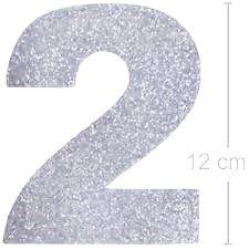 NUMERO ''2'' EM EVA BRILHO PRATA