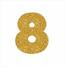 NUMERO ''8'' EM EVA BRILHO OURO