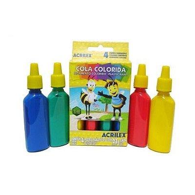 COLA COLORIDA COM 4 CORES ACRILEX