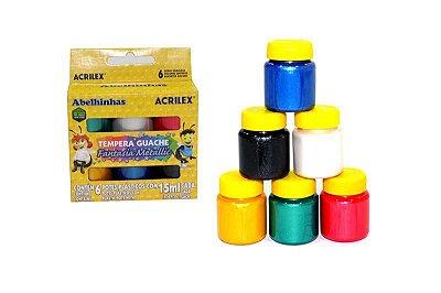 TINTA GUACHE ACRILEX C/6 CORES METALLIC