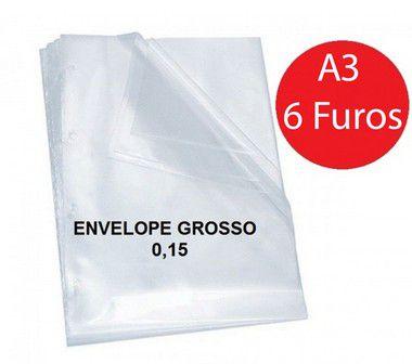 ENVELOPE PLASTICO 0,15 6 FUROS A3 (UNIDADE)