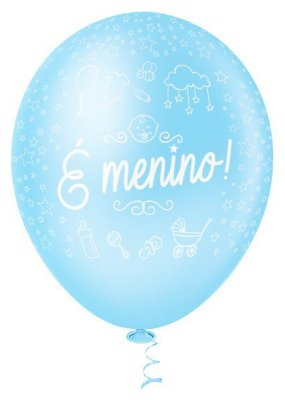 BALAO PIC PIC Nº10 DECORADO É MENINO  AZUL BABY COM 25