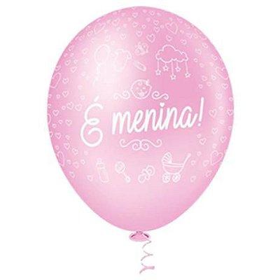 BALAO PIC PIC Nº10 DECORADO É MENINA  ROSA BABY COM 25