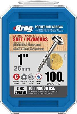 "Kreg Jig - Parafuso  1"" - 25mm Rosca Grossa [SML-C1-100]"