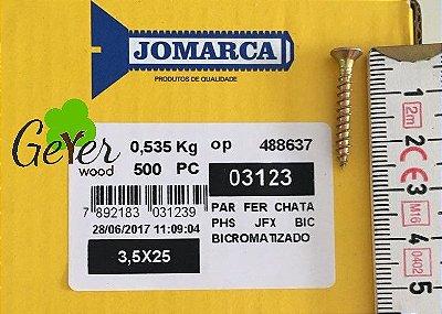 Parafuso Bicromatizado Cabeça Chata PHS Phillips 3,5 X 25 mm (500 PÇs) - JOMARCA 03123